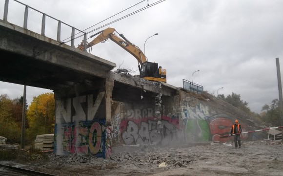 Rozbiórka wiaduktu przy ul. Chociebuskiej we Wrocławiu